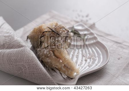 Grenadier fish with rosemary and sea salt