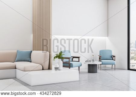 Contemporary Wooden And Concrete Office Interior Lobby With Cozy Seats, Empty Mock Up Place And City