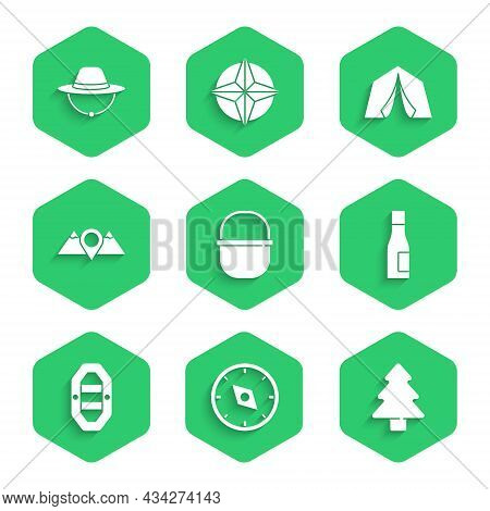 Set Camping Pot, Compass, Forest, Bottle Of Water, Rafting Boat, Location Mountains, Tourist Tent An