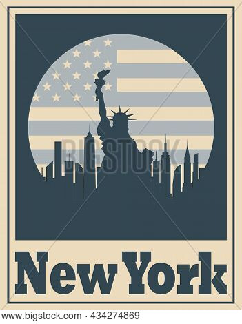 New York City Poster. Statue Of Liberty And Skyline Nyc.