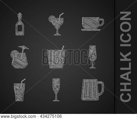 Set Cocktail Bloody Mary, Glass Of Champagne, Wooden Beer Mug, Juice, Coffee Cup And Champagne Bottl