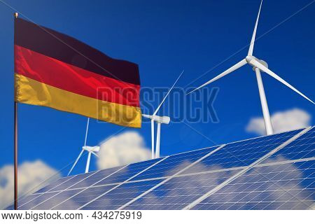 Germany Renewable Energy, Wind And Solar Energy Concept With Wind Turbines And Solar Panels - Altern