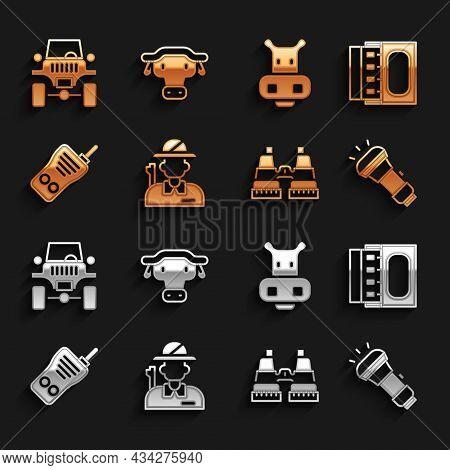 Set Hunter, Matchbox And Matches, Flashlight, Binoculars, Walkie Talkie, Hippo Or Hippopotamus, Off
