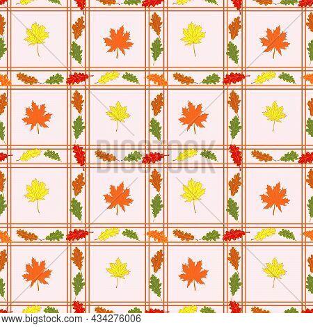 Autumn Leaves Seamless Pattern.vector Tile Colorful Designautumn Leaves Seamless Pattern.vector Tile