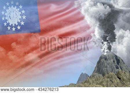 Stratovolcano Eruption At Day Time With White Smoke On Myanmar Flag Background, Troubles Because Of