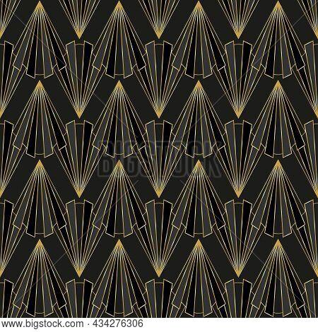 Art Deco Luxury Seamless Pattern. Gold Geometric Elements On Black Background. Art Deco Fashion Desi