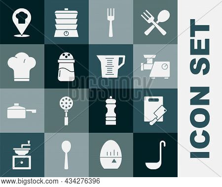 Set Kitchen Ladle, Cutting Board And Meat Chopper, Grinder, Fork, Salt, Chef Hat, With Location And