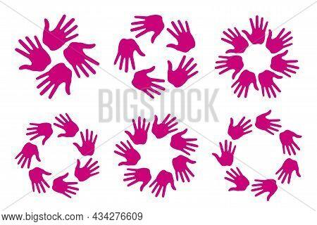 Set Of Hand Print Circle Icons. Handprint Emblems. Hand Round Insignia. Vector Logo