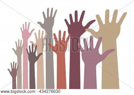 Monochrome Up Hands Colorful Distort Icon. Raised Hands In Perspective. Vector Logo Distorted Illust