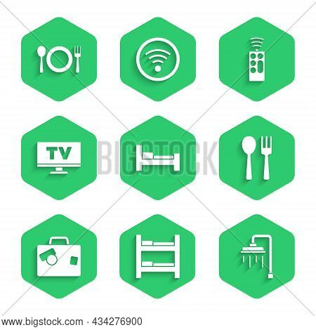 Set Hotel Room Bed, Shower, Fork And Spoon, Suitcase, Smart Tv, Remote Control And Plate, Fork Knife