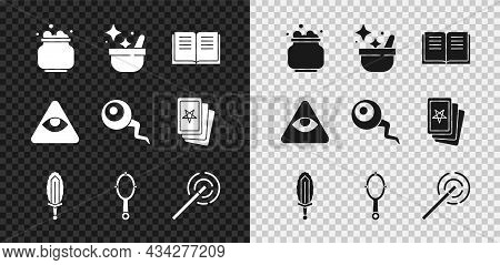 Set Witch Cauldron, Ancient Magic Book, Magic Sword In Fire, Hand Mirror, Wand, Masons And Eye Icon.