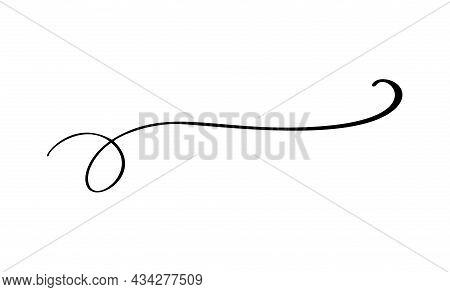 Vintage Vector Elegant Line Calligraphy Divider And Separator, Swirl And Corner Decorative Ornament.