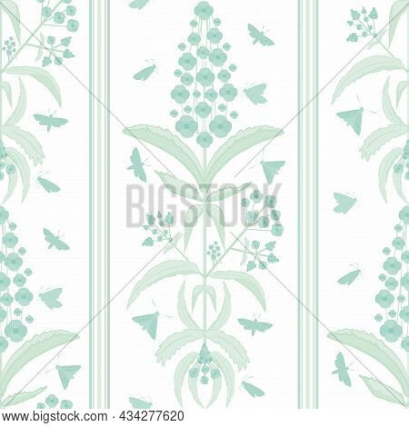 Buddleia Seamless Vector Pattern Background. Known As Butterfly Bush. Clusters Of Petals On Tall Ste