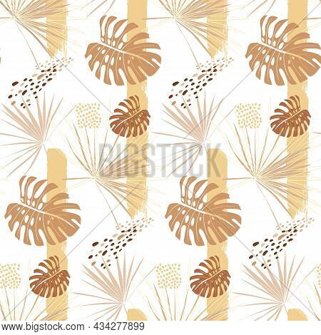 Delicate Seamless Pattern In Beige Shades With Palm Branches And Monstera Leaves In Boho Style In Ve