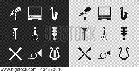 Set Microphone, Voice Assistant, Musical Instrument Saxophone, Drum Sticks, Trumpet, Ancient Lyre, A