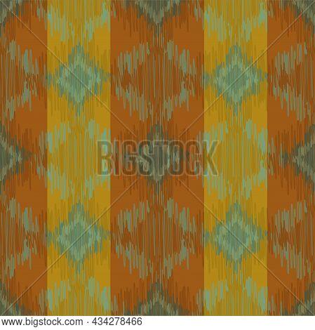 Shibori Style Ikat Vector Seamless Vector Pattern Background. Scribbled Diamond Shapes Ochre, Green