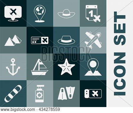 Set Airline Ticket, Location, Plane, Elegant Women Hat, Egypt Pyramids, Speech Bubble With Airplane