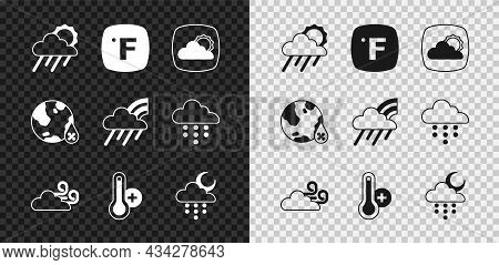 Set Cloud With Rain And Sun, Fahrenheit, Weather Forecast, Windy Weather, Meteorology Thermometer, M