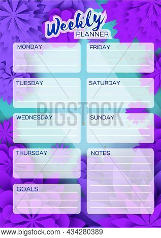 Notebook Planner. Weekly Planner. Cute Page For Notes. Notebooks, Decals, Diary, School Accessories.