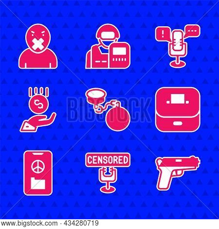 Set Ball On Chain, Censored Stamp, Pistol Gun, Vote Box, Peace, Coins Hand - Minimal Wage, Freedom O