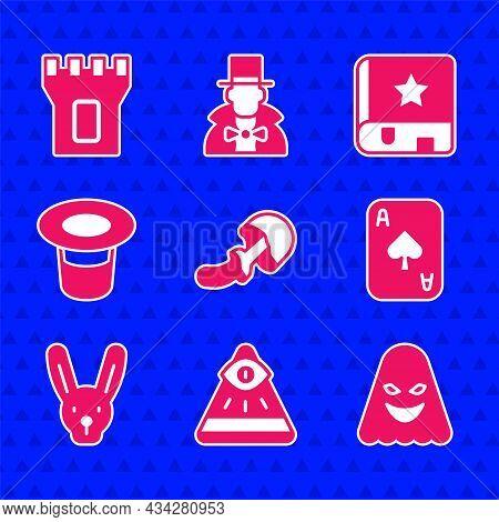 Set Psilocybin Mushroom, Masons, Ghost, Playing Cards, Rabbit With Ears, Magic Hat, Ancient Magic Bo
