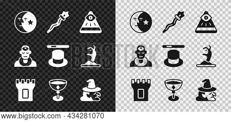 Set Moon And Stars, Magic Staff, Masons, Castle Tower, Medieval Goblet, Witch, Wizard Warlock And Ha
