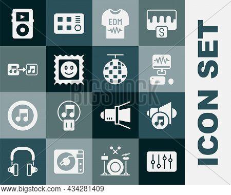 Set Sound Mixer Controller, Speaker Volume, Music Recording Studio, T-shirt, Lsd Acid Mark, Note, To