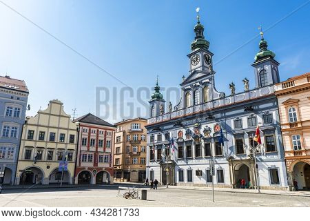 CESKE BUDEJOVICE - CZECH REPUBLIC: MARCH 21, 2015. Historic baroque City Hall located on Premysl Otakar II. square in Ceske Budejovice. Southern Czech Republic