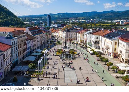 BANSKA BYSTRICA - SLOVAKIA, AUGUST 29, 2014: View at Slovak National Uprising Square (SNP Square) in the centre of Banska Bystrica town from the top of clock tower
