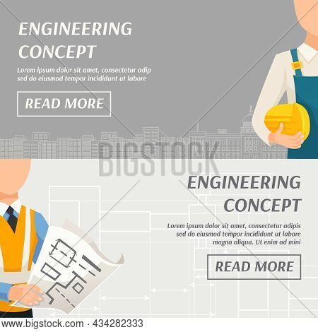 Engineering Concept Horizontal Banners With Foreman Architect And Place For Your Text Vector Illustr