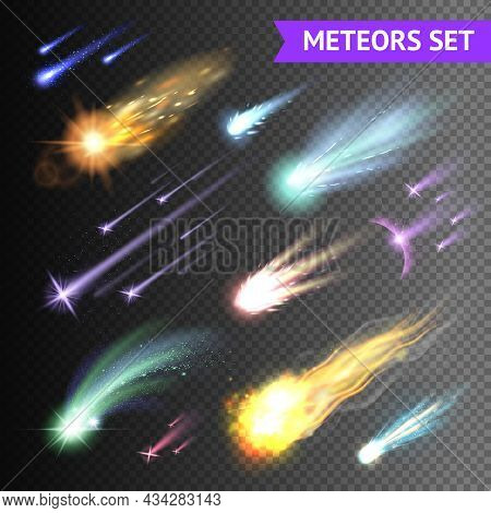 Light Effects Collection With Comets Meteors And Fireballs Isolated On Transparent Background Vector