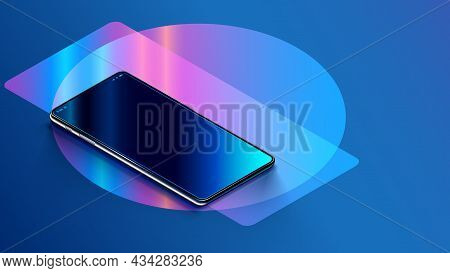 Phone With Empty Screen Is On The Table Or Reflection Surface. Smartphone Lies On Desktop. 3d Isomet