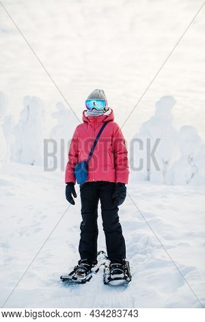 Cute pre-teen girl hiking in snowshoes in winter forest among snow covered trees in Lapland Finland