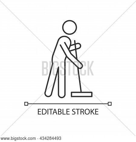 Cleaning With Mop Linear Icon. Person With Mop Cleaning House. Maintain Cleanliness In Flat. Thin Li