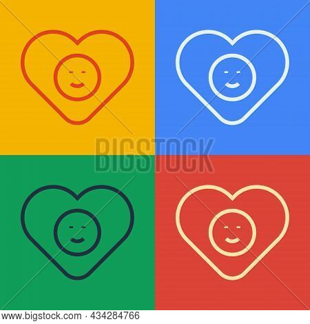 Pop Art Line Good Relationship Icon Isolated On Color Background. Romantic Relationship Or Pleasant