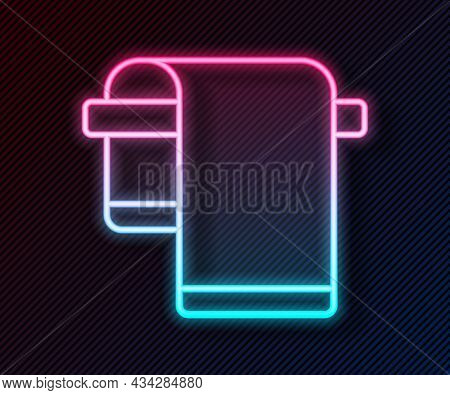 Glowing Neon Line Towel On Hanger Icon Isolated On Black Background. Bathroom Towel Icon. Vector