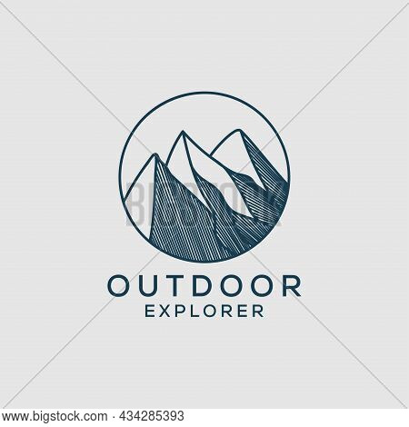 Outline Outdoor Explorer Logo Design, Mountain Vector Graphic Illustrations With Line Art Style