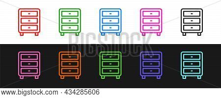 Set Line Archive Papers Drawer Icon Isolated On Black And White Background. Drawer With Documents. F