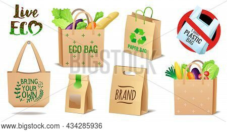 Set Of Textile, Linen And Paper Eco Bags Set, No Plastic Package, Pollution Problem