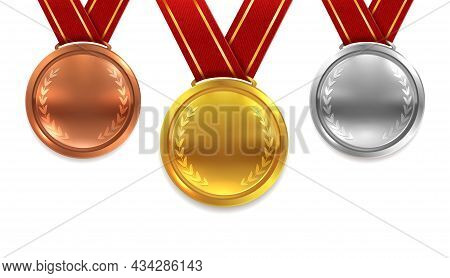 Medal Set Realistic. Red Ribbons Gold Silver And Bronze Medals With Laurel Leaves, First Second Thir