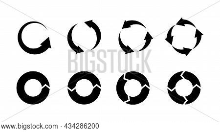 Recycling Icons. Black Silhouette Environmental Signs. Circle Arrows Isolated Labels. Bio Garbage. R