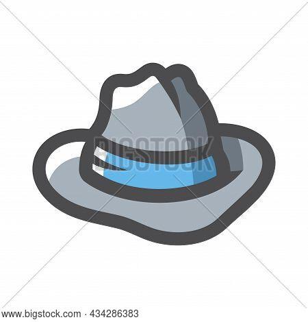 Classic Fedora Hat Vector Icon Cartoon Illustration.