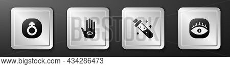 Set Mars, Hamsa Hand, Bottle With Potion And Masons Icon. Silver Square Button. Vector