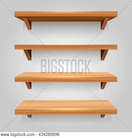 Wooden Bookshelf Isolated. Empty Wood Planks Shelves Furniture For Display Merchandising And Selling