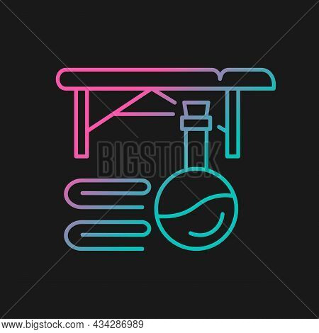 Massage Table Gradient Vector Icon For Dark Theme. Spa Center. Beauty Treatment. Massage Therapy For