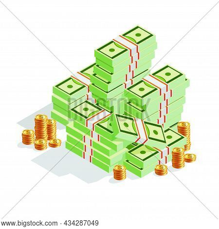 Big Pile Of Cash Money Banknotes And Gold Coins, Cents.