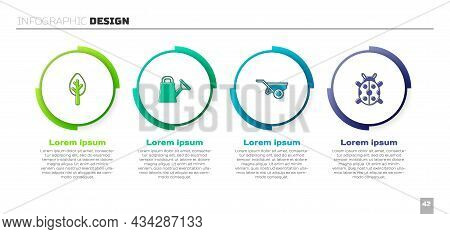 Set Forest, Watering Can, Wheelbarrow With Dirt And Ladybug. Business Infographic Template. Vector