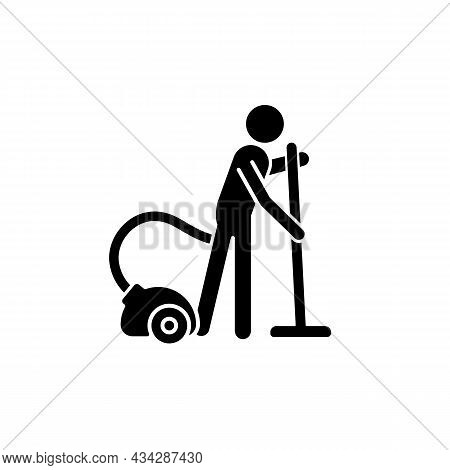 Vacuum Cleaner Black Glyph Icon. Person With Vacuum Cleaner. Maintain Cleanliness In Apartment. Ordi
