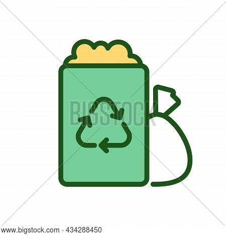 Trash Container And Garbage Bag Rgb Color Icon. Waste Drop-off Point. Municipal Garbage Collection.