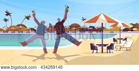 Senior Couple Dancing Old African American Man And Woman Having Fun Active Old Age Concept Landscape